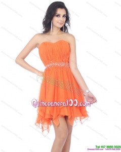2015 New Style Sweetheart Beading and Ruching Dama Dress in Orange