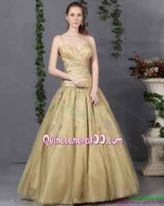 New Style 2015 Spaghetti Straps Champagne Dama Dress with Ruching and Beading