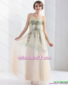 New Style 2015 Sweetheart Floor Length Dama Dress with Sequins