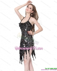 New Style Halter Top Black 2015 Dama Dress with Sequins