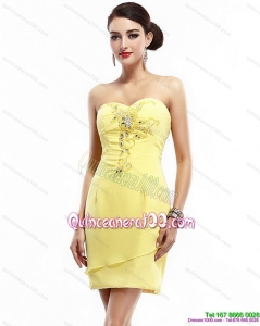 New Style Sweetheart Beading Yellow Dama Dress for 2015