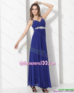 2015 New Style Ankle Length Blue Dama Dress with Beading