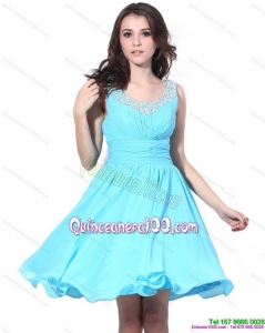 New Style Beading and Ruching 2015 Dama Dress in Aqua Blue