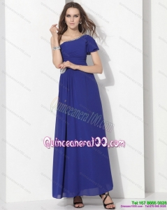 New Style One Shoulder Blue Dama Dress with Ruching and Beading