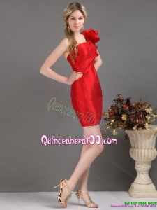 New Style One Shoulder Mini Length Red Dama Dress with Ruching