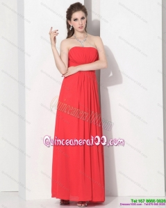 2015 New Style Strapless Empire Coral Red Dama Dress with Ruching