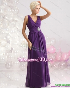 New Style V Neck Floor Length Dama Dress with Beading and Ruching
