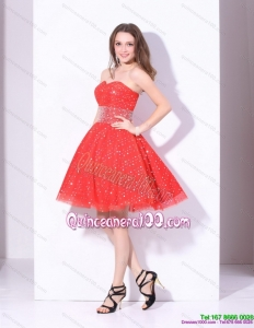 New Style 2015 Sweetheart Beading Mini Length Dama Dress in Red