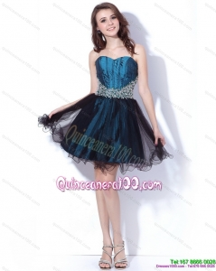 New Style Multi Color Sweetheart Sequined and Ruffled Dama Dresses for 2015