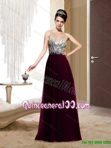 Discount Square Backless Beading Wine Red Dama Dress for 2015