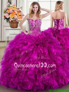 Affordable Ruffled Beaded Fuchsia Quinceanera Dress with Brush Train