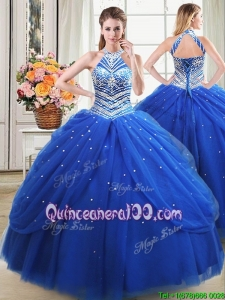Beautiful Halter Top Beaded Decorated Royal Blue Quinceanera Dress in Tulle