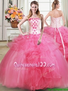 Fashionable Beaded Strapless Hot Pink Quinceanera Dress with Appliques and Ruffles