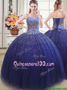 Simple Really Puffy Beaded Bodice Tulle Quinceanera Dress in Royal Blue