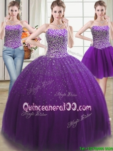 Best Puffy Beaded Bodice Tulle Detachable Quinceanera Dress in Purple