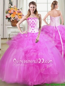 Brand New Puffy Strapless Tulle Beaded Applique and Ruffles Quinceanera Dress in Fuchsia