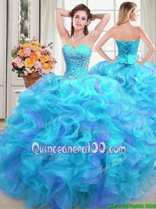 Brand New Sweetheart Organza Two Tone Quinceanera Dress with Beading and Ruffles
