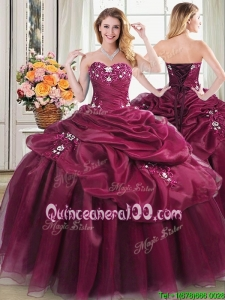 Classical Applique and Pick Ups Burgundy Sweet 16 Dress in Organza