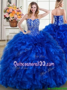 Classical Ruffled Beaded Bodice Royal Blue Quinceanera Dress with Brush Train