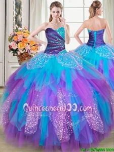 Discount Puffy Beaded and Ruffled Rainbow Colored Quinceanera Dress in Tulle and Sequins