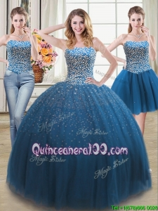 Discount Puffy Sweetheart Teal Detachable Quinceanera Dress with Beading