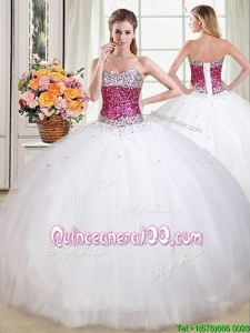 Discount Really Puffy Beaded Bodice White Quinceanera Dress in Tulle
