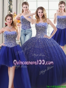 Discount Three for One Puffy Tulle Royal Blue Detachable Quinceanera Dress with Beading