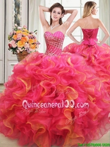 Elegant Beaded and Ruffled Sweetheart Two Tone Quinceanera Dress in Organza