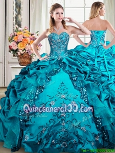 Exclusive Taffeta and Sequined Beaded and Bubble Quinceanera Dress in Teal