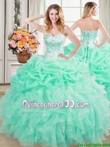 Exclusive Visible Boning Mint Quinceanera Dress with Beaded Bodice and Ruffles