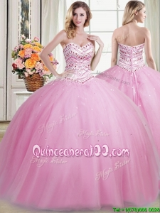 Fashionable Puffy Skirt Tulle Rose Pink Sweet 16 Dress with Beading