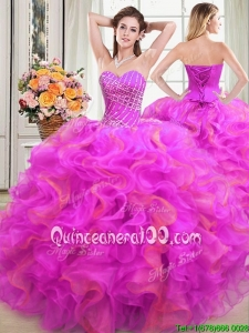 Fashionable Puffy Sweetheart Organza Two Tone Quinceanera Dress with Beading and Ruffles