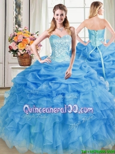 Informal Sweetheart Organza Beaded and Pick Up Quinceanera Dress in Blue