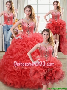 Luxurious See Through Rolling Flowers Coral Red Detachable Quinceanera Dresses with Beading and Ruffles