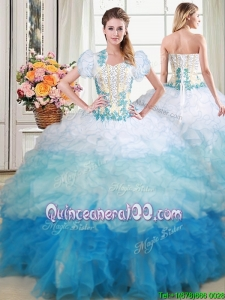 Luxurious Sweetheart Applique and Beaded Ruffled Quinceanera Dress in Gradient Color