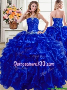 Most Popular Ruffled Organza Strapless Quinceanera Gown in Royal Blue