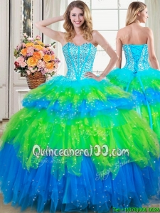 New Style Visible Boning Beaded Bodice and Ruffled Layers Quinceanera Dress