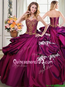 Perfect Beaded Bodice Taffeta Quinceanera Dress with Appliques and Pick Ups