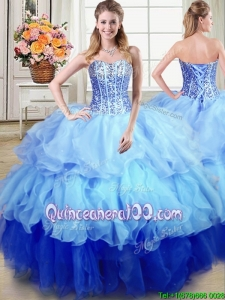 Popular Ball Gown Sweetheart Sequined and Ruffled Quinceanera Dress in Multi-color