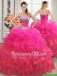 Pretty Strapless Beaded Bodice and Ruffled Layers Quinceanera Dress in Two Tone
