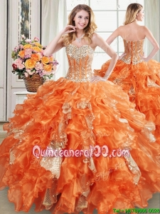 Puffy Visible Boning Sweetheart Ruffled Quinceanera Dress in Organza and Sequins