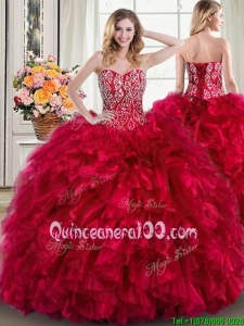 Romantic Puffy Ruffled and Beaded Bodice Brush Train Quinceanera Dress in Red