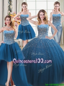 Simple Three for One Puffy Tulle Teal Detachable Quinceanera Dress with Beading