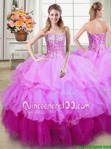 Sweet Puffy Organza Gradient Color Quinceanera Dress with Sequins and Ruffles