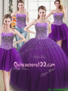 Three for One Puffy Tulle Purple Detachable Quinceanera Dress with Beading