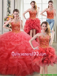 Unique Puffy Sweetheart Beaded and Ruffled Coral Red Detachable Quinceanera Dress in Organza