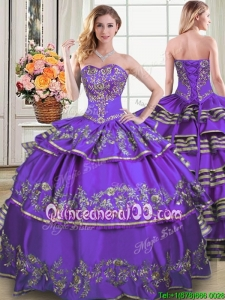 Unique Puffy Sweetheart Taffeta Embroideried and Ruffled Layers Quinceanera Dress in Purple