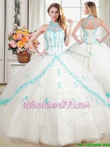 Cheap See Through Puffy Halter Top White Quinceanera Dress with Appliques and Beading