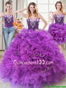 Classical Two for One Puffy Ruffled and Beaded Detachable Quinceanera Dress in Eggplant Purple