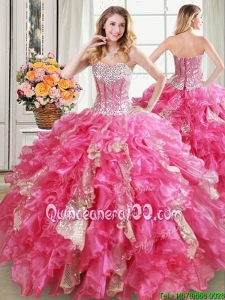 Gorgeous Visible Boning Ruffled Hot Pink Quinceanera Dress in Organza and Sequins